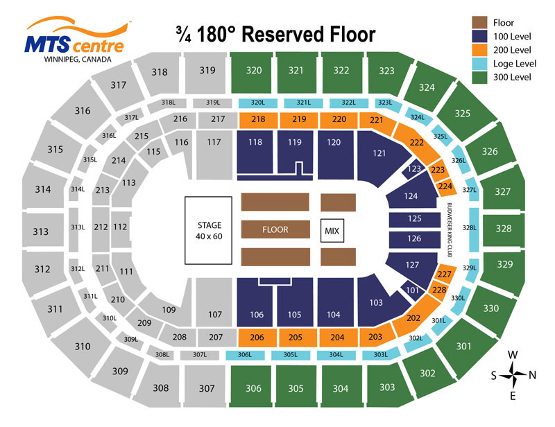 MTS Centre - 3/4 180 Reserved Floor Map