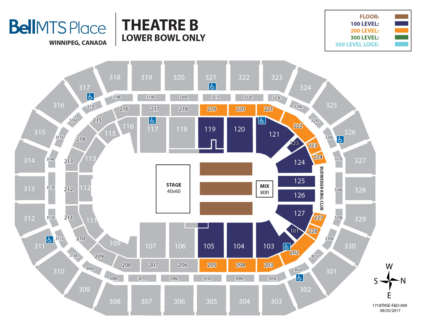 Bell MTS Place - Theatre B Lower Bowl Seating
